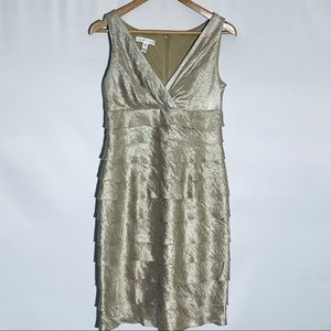 London Times champagne shimmer tier dress, size 4